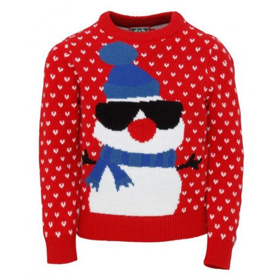 Kersttrui Voor Kinderen.Kersttrui Rood Met Sneeuwpop Voor Kinderen Kerst Truien Grote
